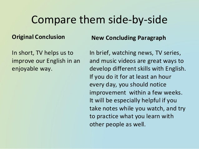 conclusion on television essays According to marie winn and her essay the plug-in drug, television has various negative effects on our society today in her essay winn explores the ways in which.