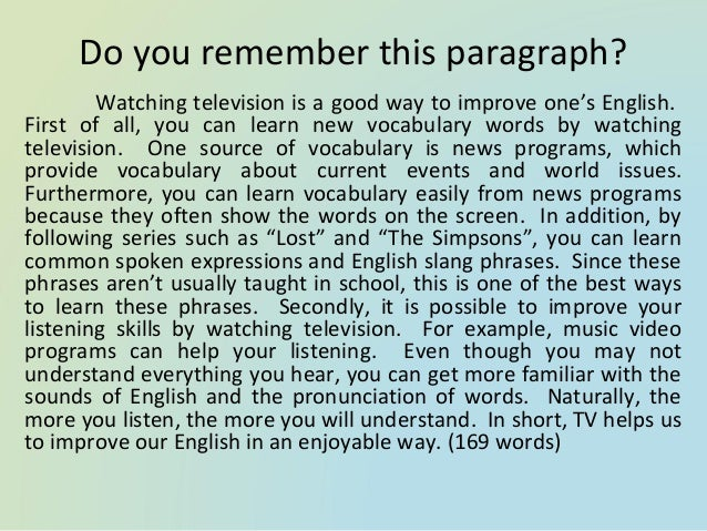 "essay on watching television One main concern for parents and a big reason behind the bashing of television programs is the increased tendency of ""staying inside"" among youths watching tv basically, children would prefer staying at home to watch tv instead of making friends outside."