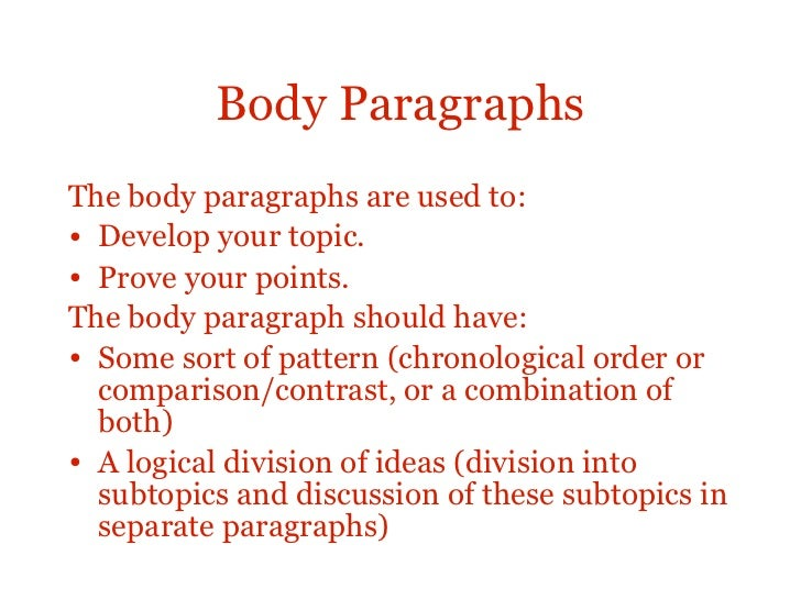 essay structure body paragraphsthe body paragraphs