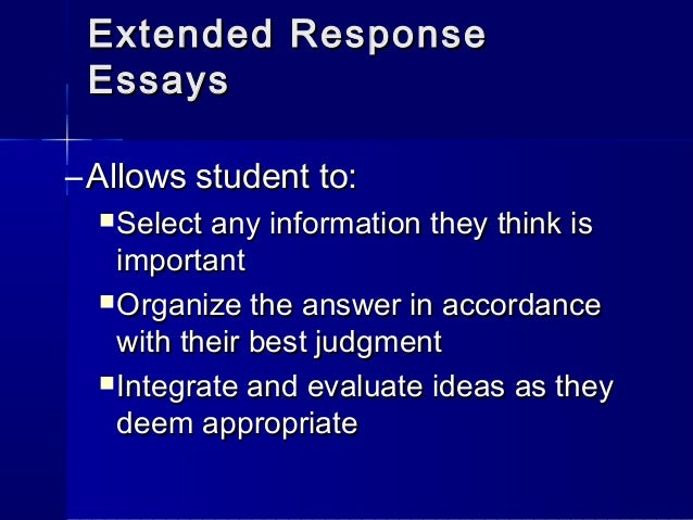 form and uses of essay tests A test taker who takes a written test could respond to specific items by writing or typing within a given space of the test or on a separate form essay test) or.