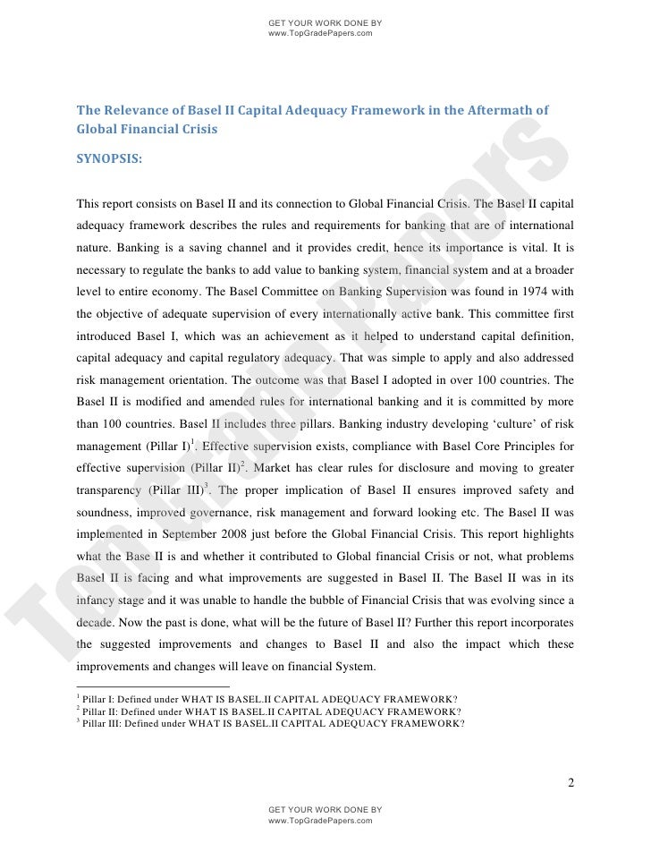 essay the relevance of basel ii capital adequacy framework in the aft essay the relevance of basel ii capital adequacy framework in the aftermath of global financial crisis topgradepapers com