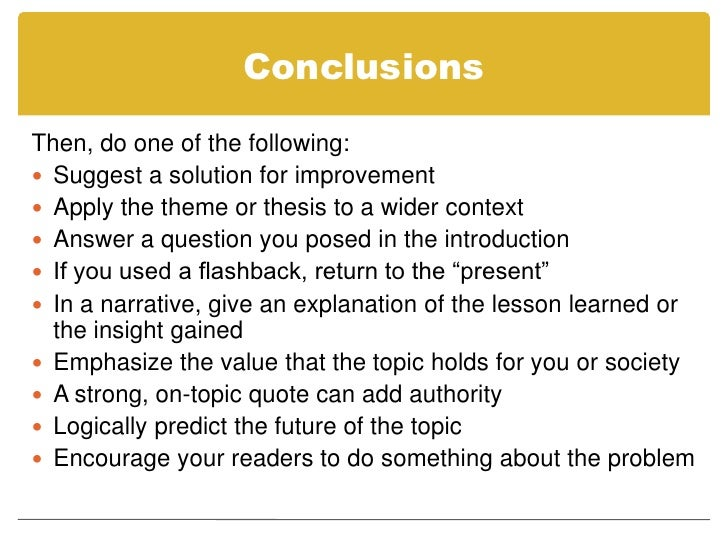 restating your thesis in the conclusion Make sure, however, that your conclusion is not simply a repetitive summary as this reduces the impact of the argument you have developed in your essay the conclusion provides a forum for you to persuasively and succinctly restate your thesis given the reader has now been presented with all the information about the.