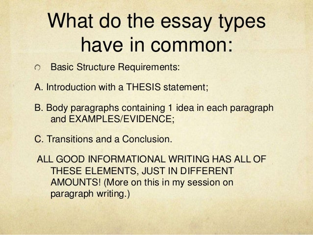 different types of essay structures Six logical writing structures by: of the six common writing structures that can be used for both formal about the different kinds of structures.