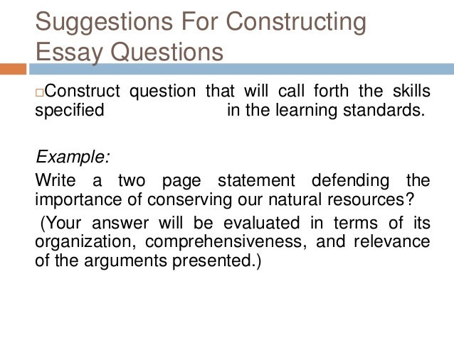 What are the two common types of essay tests