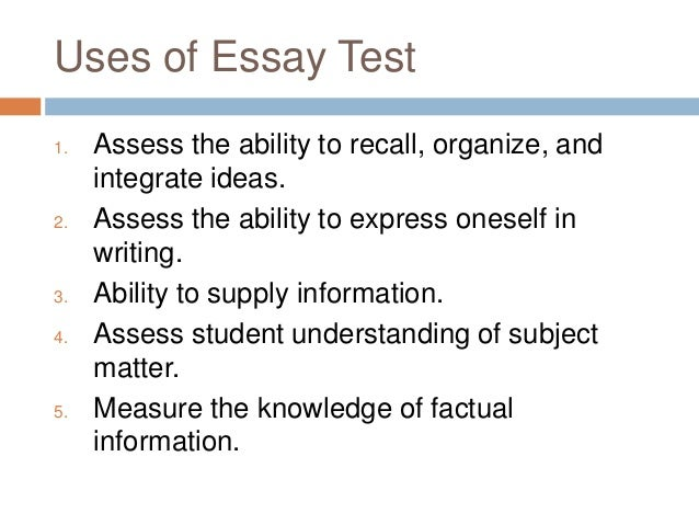 essay type test 6 uses of essay