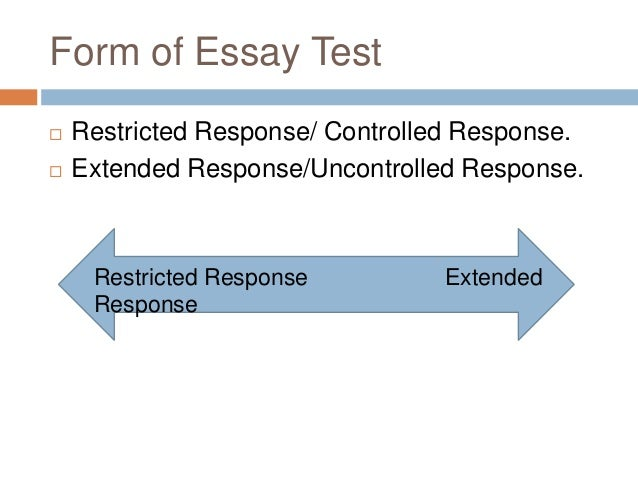 meaning of essay type test Looking at the essay question in close detail will help you to identify the topic and 'directive words' (dhann, 2001), which instruct you how to answer the question understanding the meaning of these directive words is a vital first step in producing your essay.