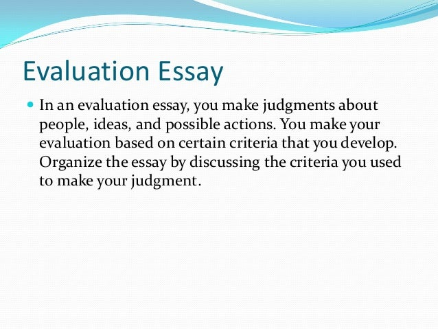 evaluate article essay Defines the five common parts of a critique essay and provides a formula for completing each part.