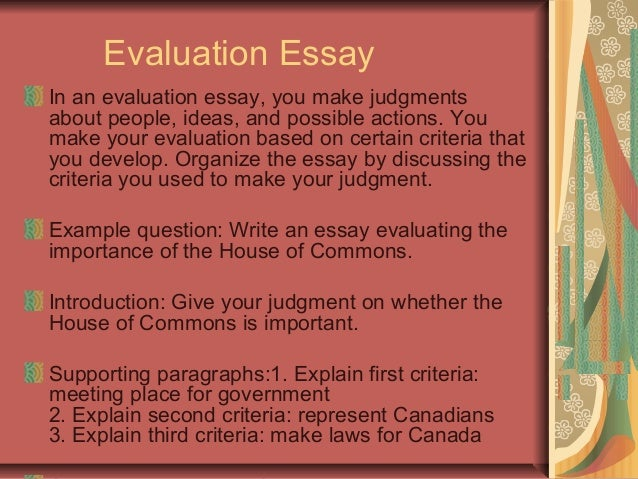 criterion for evaluating an essay Evaluating the applications: scoring system  exceptional characteristics that contribute to the specific criterion  the essay section score is.