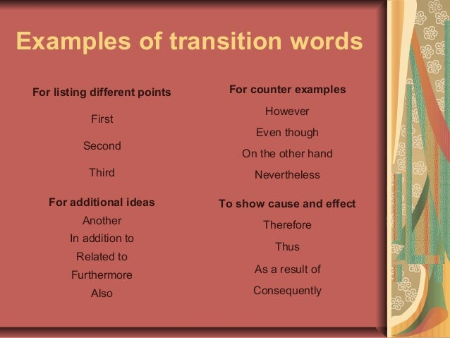 transition words to use in a narrative essay Transitional words and phrases frame your argument and are placed at key  points in your paragraphs and essays to lead your reader from point to point, from  paragraph to paragraph, and, finally, from the  using these words and phrases  in class to gain confidence in their correct usage in your  to introduce a  narrative.