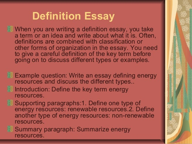 extended definition essay writing A definition essay can be deceivingly difficult to write this type of paper requires  you to write a personal yet academic definition of one specific word.