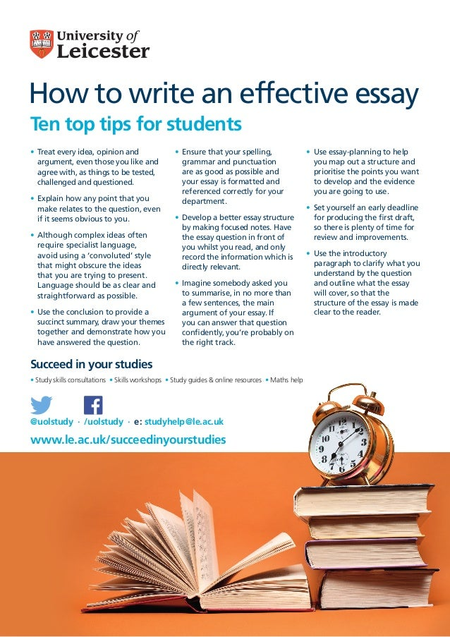 How to write an effective essay Ten top tips for students Succeed in your studies www.le.ac.uk/succeedinyourstudies @uolst...