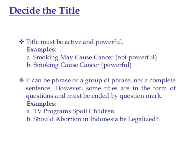 Essay titles examples
