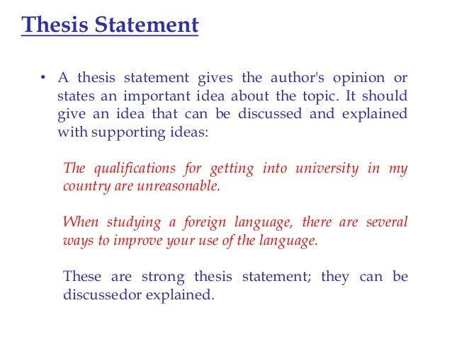 why is it important to have a thesis statement When you have your specific purpose statement you are ready to compose your thesis statement/central idea (they are one in the same) this is the most important part of your speech this is one sentence that encompasses the central idea of your speech.
