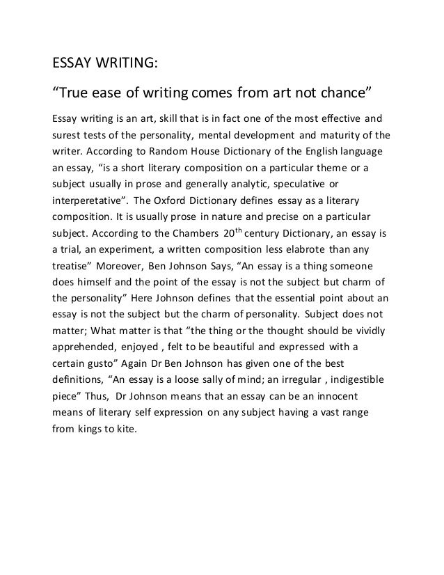 art of essay writing