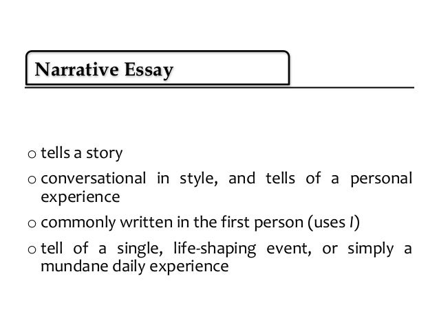 different types of narrative essays Narrative writing is very common in novels read all different types of writing so that you have a broad knowledge of them and can point them out within the first.