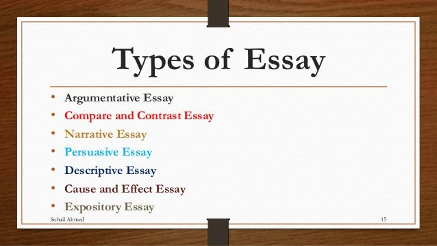 Types of students essay