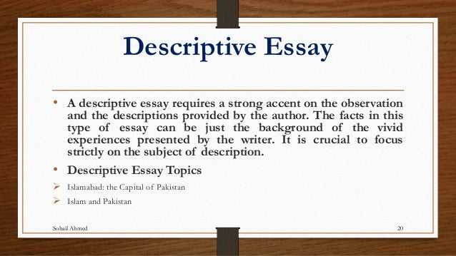 narrative descriptive essay difference Help your student understand different types of essays and learn the four major types of essays  a cousin of the narrative essay, a descriptive essay paints a.
