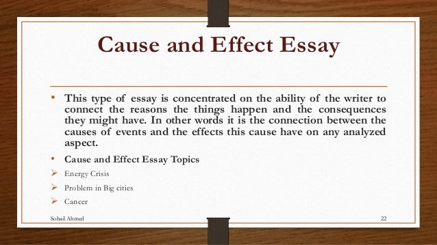 cause effect essay structure How to structure your essay a cause and effect essay is similar in structure to most other essays, in that it requires an introduction, a body, and a.