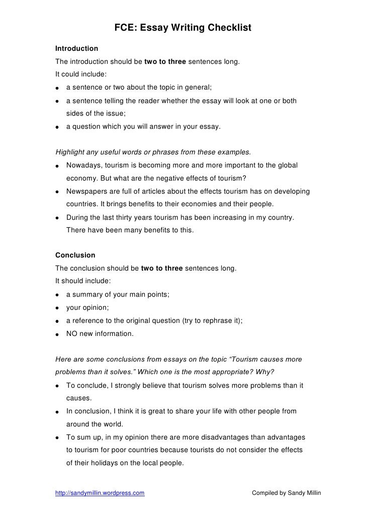 fce essay writing checklist Writing style awkward phrasing: cases in which there is a clearer, more straightforward way to make your point or a better editing an essay: a brief checklist.