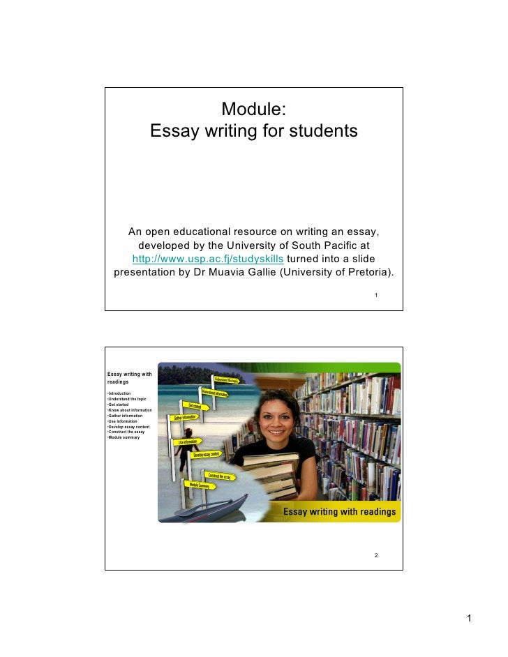 Module:                      Essay writing for students           An open educational resource on writing an essay,       ...