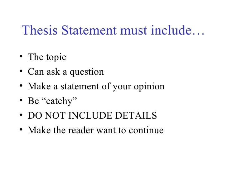 can you start a thesis statement with a question