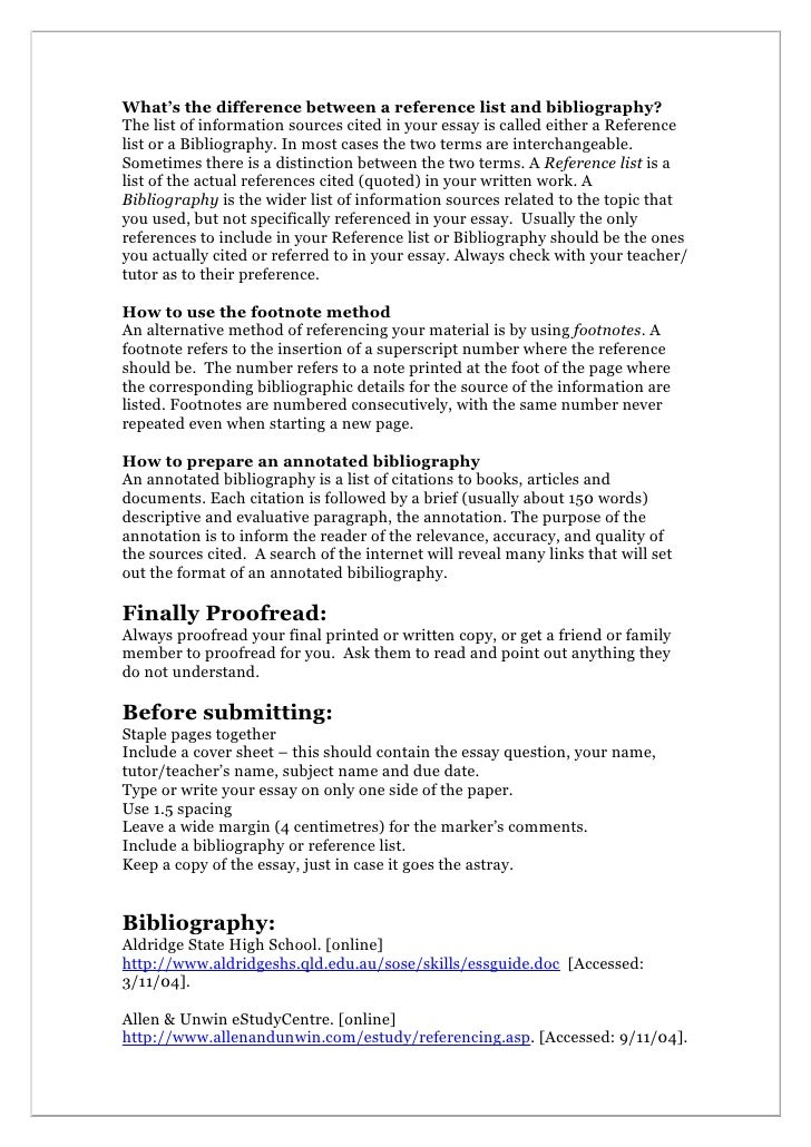 essay reference page