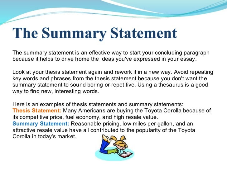 how to write executive summary master thesis ppt