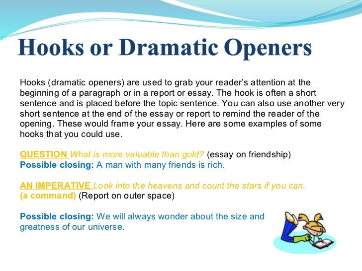 good sentence openers for essays Topic sentences and signposts make an essay's claims clear to a reader good essays contain both topic sentences reveal the main point of a paragraph they show the.