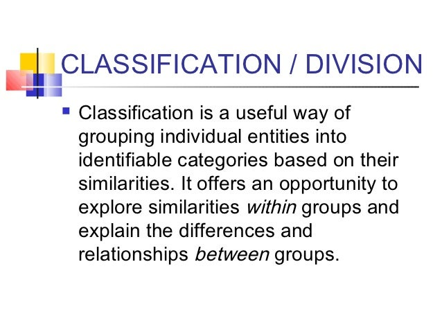 classification division essay examples