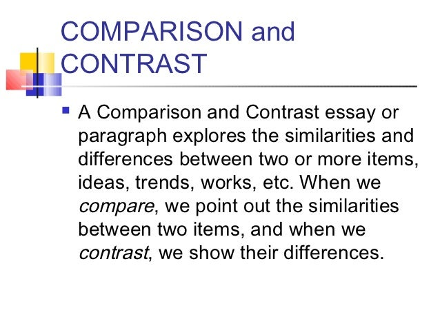 ways to write compare and contrast essays
