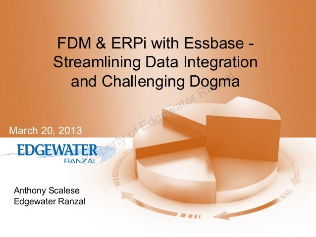 FDM & ERPi with Essbase Streamlining Data Integration al and Challenging Dogma nz a of rty pe ro  March 20, 2013  P Anthon...