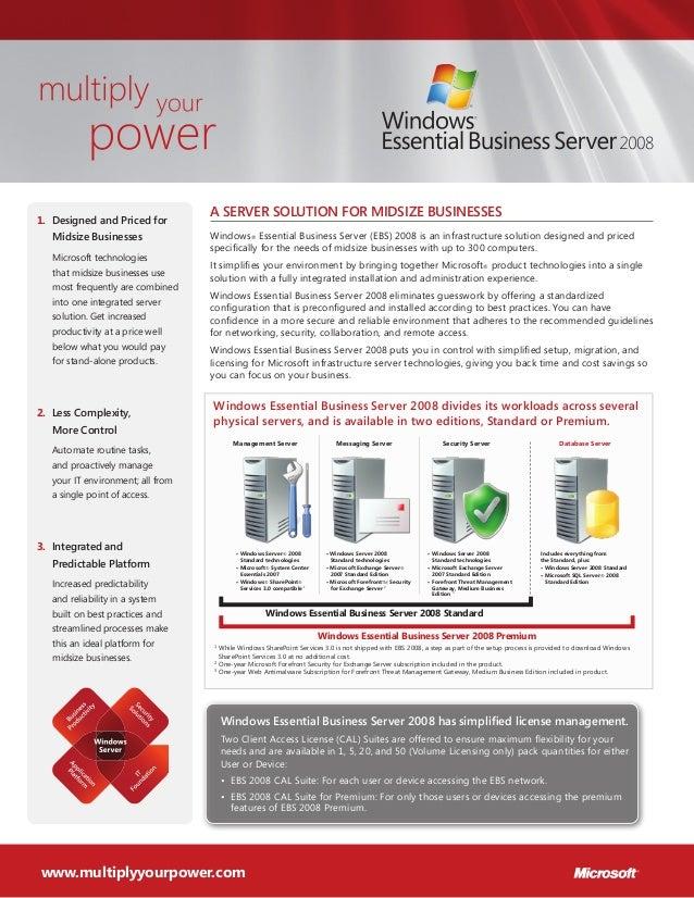 A server solution for midsize businesses Windows® Essential Business Server (EBS) 2008 is an infrastructure solution desig...