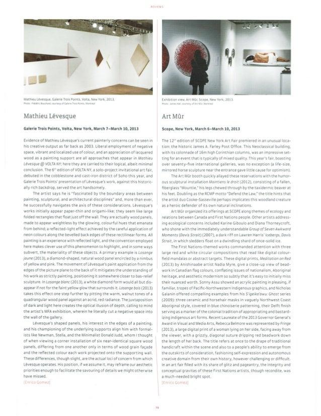 HEl. ilE>     Mathieu Lévesque,  Galerie Trois Points.  Volta.  New York.  2013. More Vlbdérlt Eouthivc.  touvzesy of Gale...