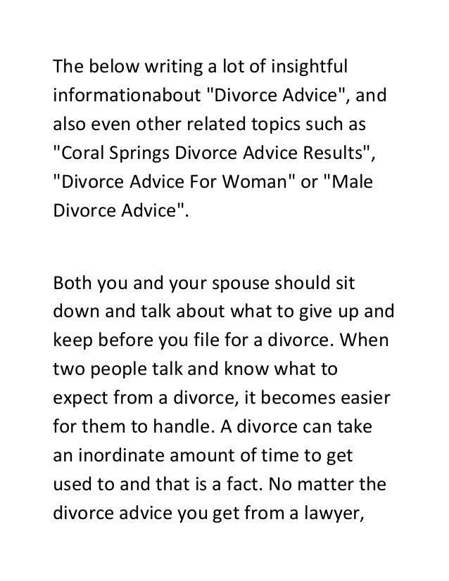 Before divorce advice