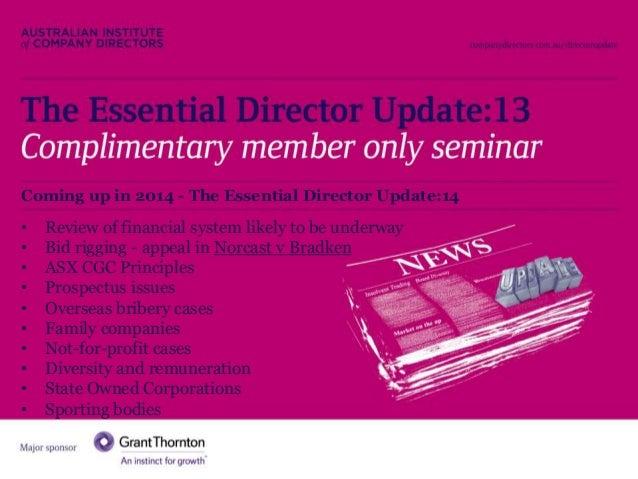 Essential Director Update 2013 Highlights  Slide 2