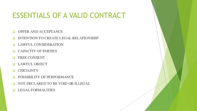 Valid Contract Essential Elements Essential Elements Of A Valid