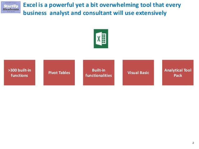 Essential Excel for Business Analysts and Consultants Slide 2