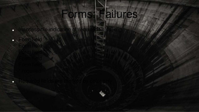 Forms: Failures  Inaccessible indication of required fields, e.g.  Form field Form field Form field * Form field Form fi...