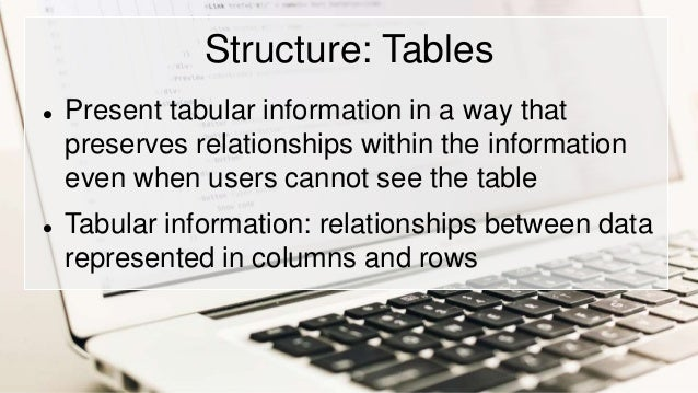 Structure: Tables  Present tabular information in a way that preserves relationships within the information even when use...