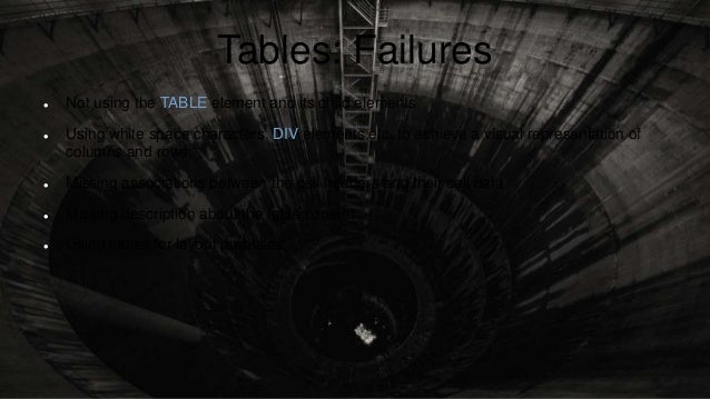 Tables: Failures  Not using the TABLE element and its child elements  Using white space characters, DIV elements etc. to...