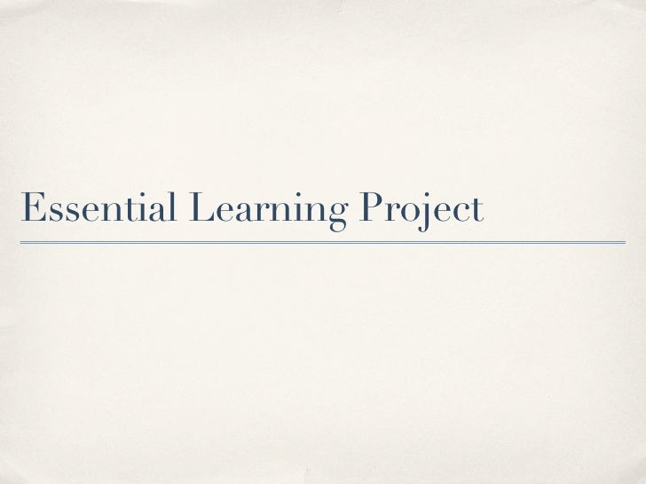 Essential Learning Project
