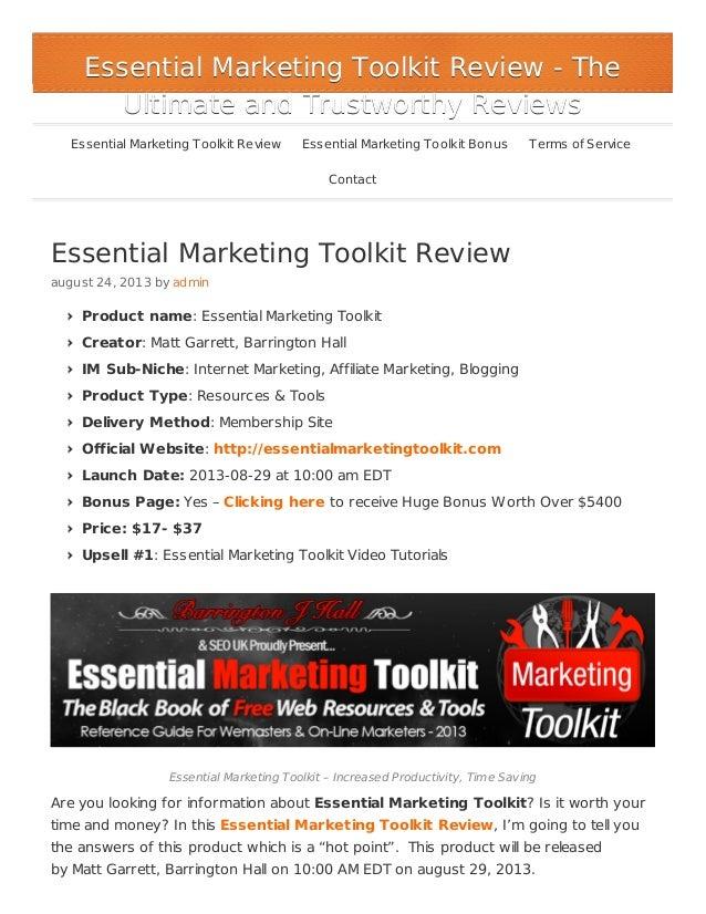 Essential Marketing Toolkit Review august 24, 2013 by admin Product name: Essential Marketing Toolkit Creator: Matt Garret...