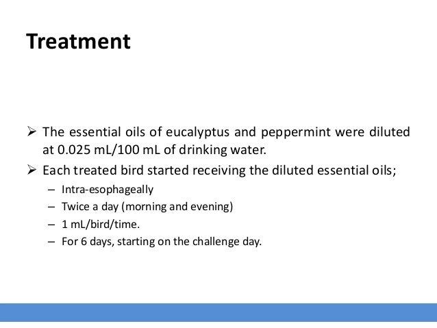 Treatment  The essential oils of eucalyptus and peppermint were diluted at 0.025 mL/100 mL of drinking water.  Each trea...
