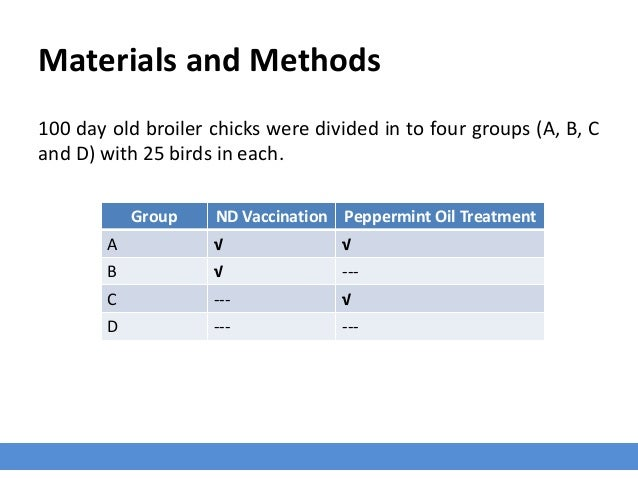 Materials and Methods 100 day old broiler chicks were divided in to four groups (A, B, C and D) with 25 birds in each. Gro...
