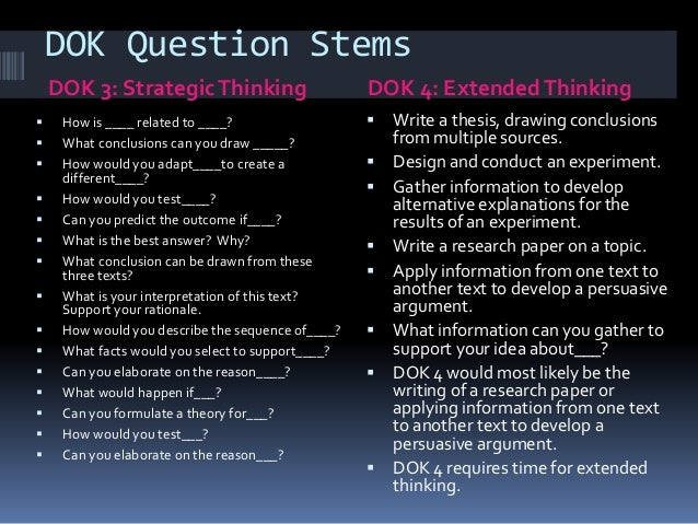 Essential Questions And DOK Depth Of Knowledge