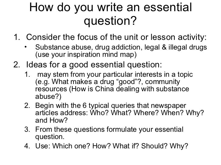 Essential questions for writing