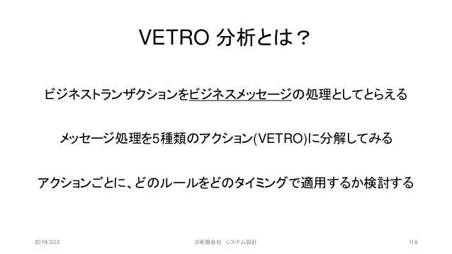 VETRO 分析とは? ビジネストランザクションをビジネスメッセージの処理としてとらえる メッセージ処理を5種類のアクション(VETRO)に分解してみる アクションごとに、どのルールをどのタイミングで適用するか検討する 2019/3/22 ©有...