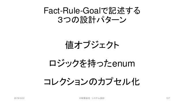 Fact-Rule-Goalで記述する 3つの設計パターン 値オブジェクト ロジックを持ったenum コレクションのカプセル化 2019/3/22 ©有限会社 システム設計 137