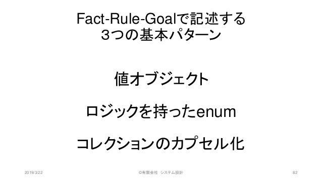 Fact-Rule-Goalで記述する 3つの基本パターン 値オブジェクト ロジックを持ったenum コレクションのカプセル化 2019/3/22 ©有限会社 システム設計 82
