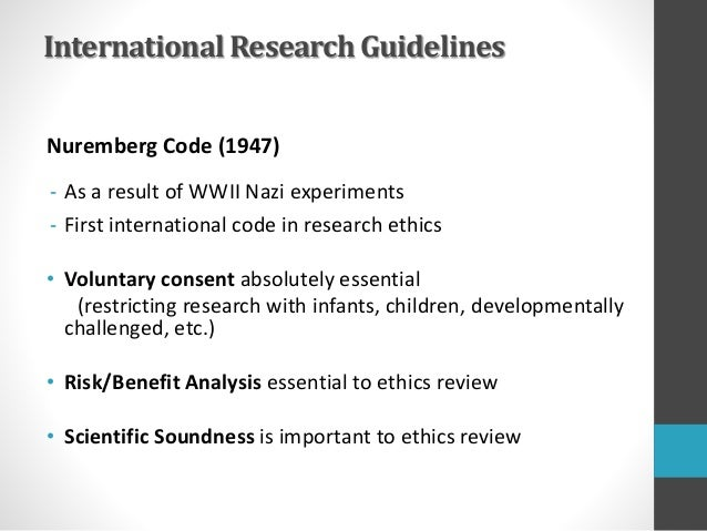 """ethics of the nuremberg code essay The nuremberg code essay the nuremberg code essay submitted by to answer this question we can look into provision 2 which according to """"code of ethics."""